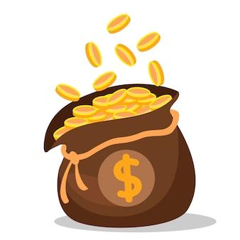 Una bolsa llena de monedas de oro en blanco.