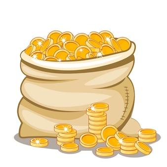 Bolsa llena de monedas de oro