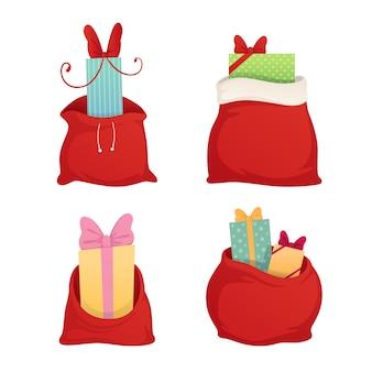 Bolsa llena de regalos de santa claus. elemento decorativo navideño.