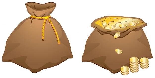 Bolsa marrón llena de monedas de oro