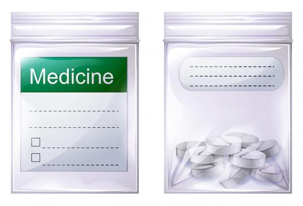 Una bolsa de medicina sellada