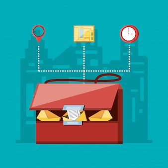 Bolsa de mensajería con servicio logístico set iconos