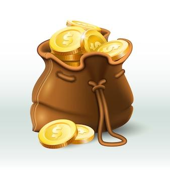 Bolsa de monedas de oro, moneda de oro en saco antiguo antiguo, ahorro de monedero y riqueza de oro 3d realista
