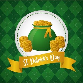 Bolsa de monedas verdes, etiqueta en la tarjeta de felicitación verde, feliz día de san patricio