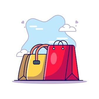 Bolsa de mujer y bolsa de compras para la ilustración de icono de vector de día de la mujer