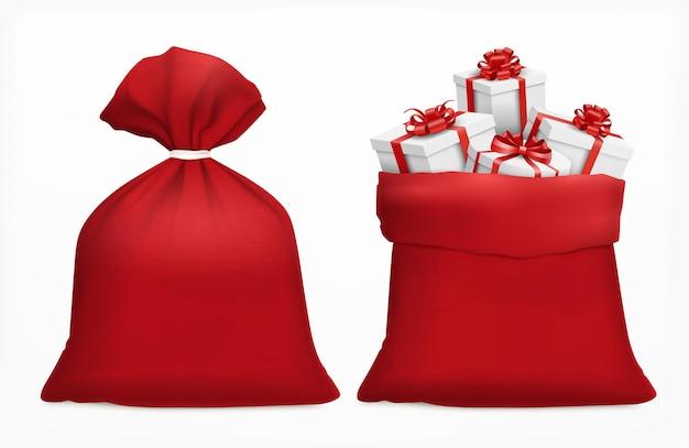 Bolsa de navidad roja con regalos en blanco aislado