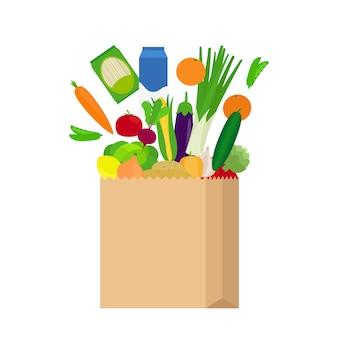 Bolsa de papel con alimentos frescos.