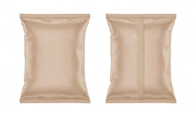 Bolsa de papel artesanal en blanco para diseño de envases.