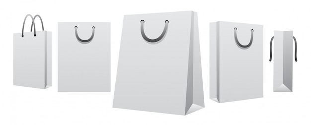 Bolsa de papel blanco en blanco