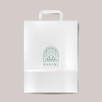 Bolsa de papel maqueta aislado vector