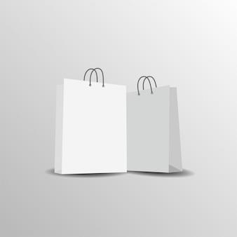 Bolsa de papel maqueta plantilla vector