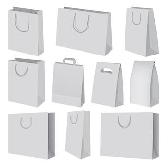 Bolsa de papel maqueta puesta. ilustración realista de 10 maquetas de bolsas de papel para web.