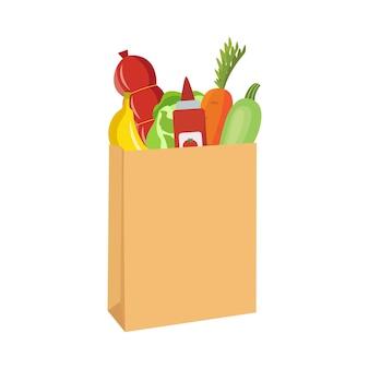 Bolsa de papel marrón llena de verduras y otros alimentos: bolsa de compras de dibujos animados con zanahoria, plátano, salami y otros comestibles. ilustración.