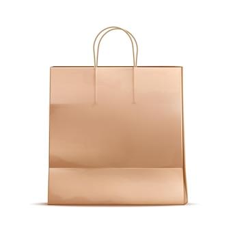 Bolsa de papel realista. paquete de mercancía de cartón en blanco.