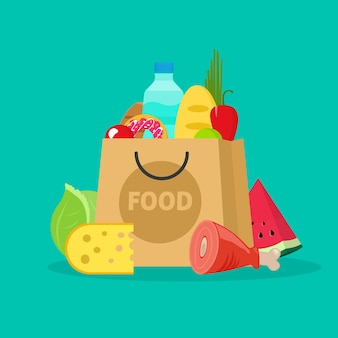 Bolsa de papel de supermercado llena de productos alimenticios frescos