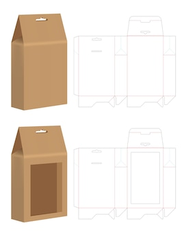 Bolsa de papel troquelado maqueta vector de plantilla