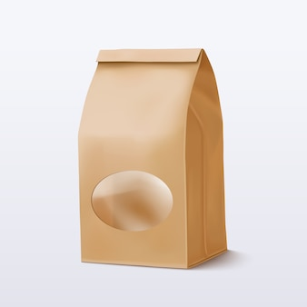 Bolsa de papel con una ventana redonda transparente. ilustración