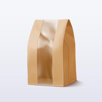 Bolsa de papel con ventana transparente. ilustración