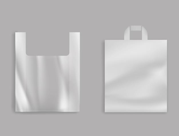Bolsa de plástico de camiseta en blanco, paquete de polietileno con asas para tienda de comestibles