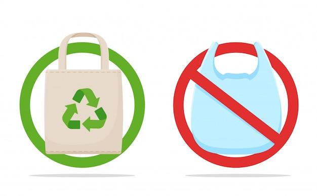 Bolsa de plástico y tela
