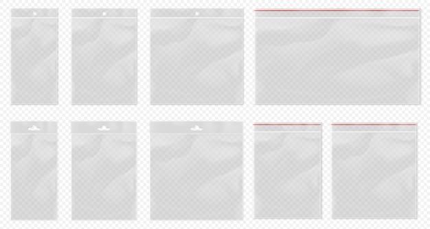 Bolsa de plástico transparente. bolsa transparente aislada. conjunto de bolsa transparente en blanco con paquete bopp y bolsillo de embalaje ziplock. bolsas de polipropileno vacías realistas con suspensión euro para minoristas