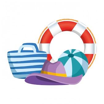 Bolsa de playa y flotador con verano.