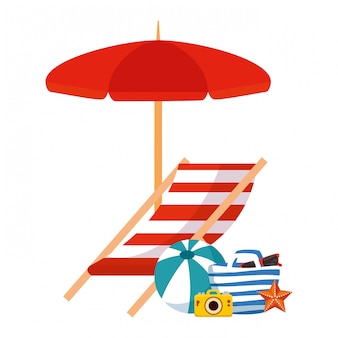 Bolsa de playa con sombrilla e iconos de verano.
