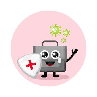 Bolsa de protección contra virus lindo personaje logo