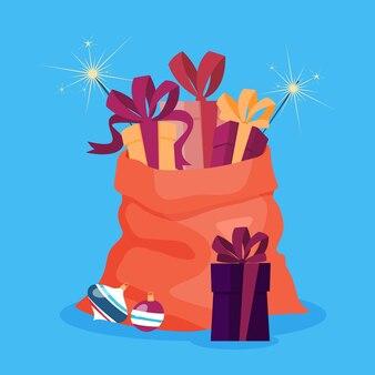 Bolsa roja de santa claus llena de regalos de navidad. regalos de vacaciones de invierno. caja con cinta. ilustración