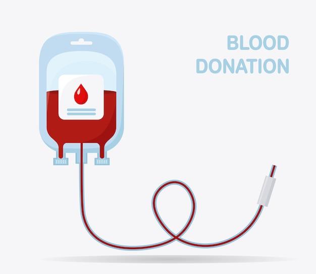 Bolsa de sangre aislada sobre fondo blanco. donación, transfusión en concepto de laboratorio de medicina.