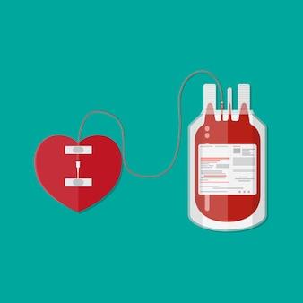 Bolsa de sangre y corazón. donación