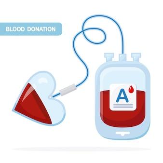 Bolsa de sangre con gota roja sobre fondo blanco. donación, transfusión en concepto de laboratorio de medicina. pack de plasma con corazón. salva la vida del paciente.