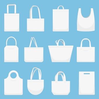 Bolsa de tela. bolsas de lona ecológica, conjunto de ilustración de bolsa de compras blanca