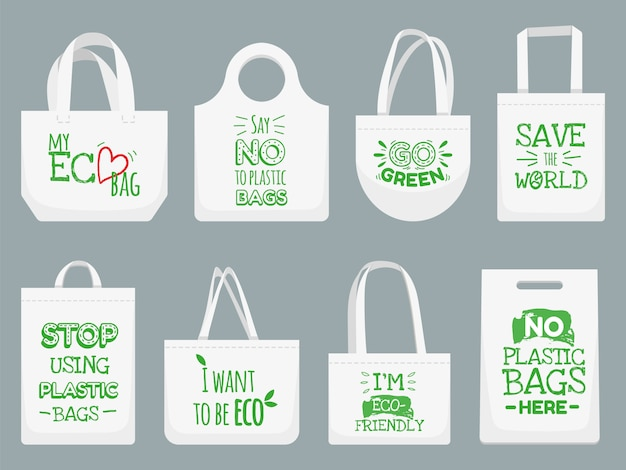 Bolsa de tela ecológica. di no a las bolsas de plástico, el eslogan de prohibición de polietileno y la ilustración del bolso de compras de textiles