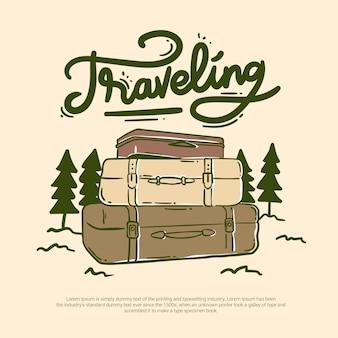 Bolsa de viaje en el bosque al aire libre offroad