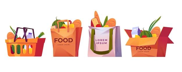 Bolsas de compras, canasta de supermercado y caja con abarrotes.