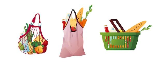 Bolsas de compras ecológicas reciclables y canasta de plástico con comida.