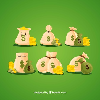 Bolsas de dinero con monedas