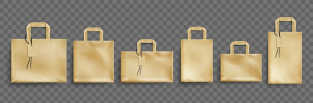 Bolsas ecológicas de papel artesanal de diferentes formas con etiquetas