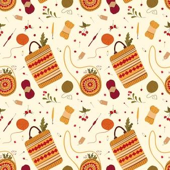 Bolsas de estilo folk artesanal vector plano de patrones sin fisuras