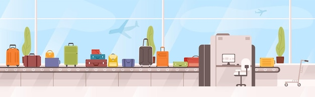 Bolsas, maletas en carrusel de equipaje contra la ventana con aviones volando en el fondo.