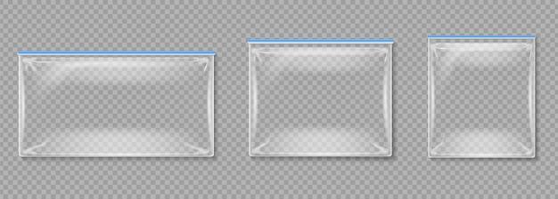 Bolsas de plástico. carpetas vacías transparentes aisladas con cremalleras.