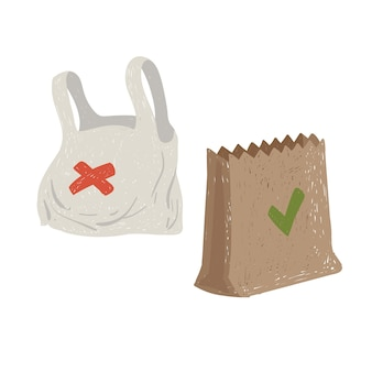 Bolsas de plástico y papel. concepto ecológico. preservación del medio ambiente.