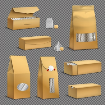 Bolsas de té de papel kraft marrón y paquetes de hojas sueltas paquetes de cajas conjunto realista fondo transparente