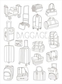 Bolsas de viaje y maletas, conjunto dibujado a mano