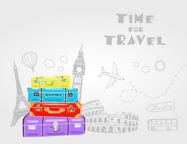 Bolsas de viaje vintage con diferentes elementos de viaje.