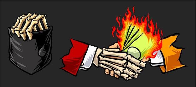 Bolsillo de mano esqueleto hacer trato con el diablo