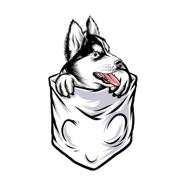 Bolsillo perro husky gracioso