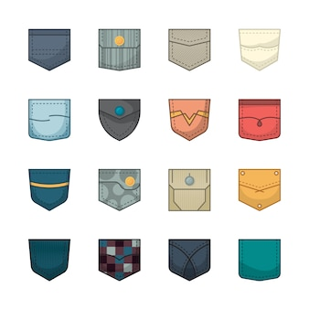 Bolsillos de colores. parches y bolsillos de tela para ropa bolsos camisa colección chaquetas vaqueras
