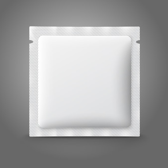 Bolsita de plástico blanco en blanco para medicina, condones, drogas, café, azúcar, sal, especias.